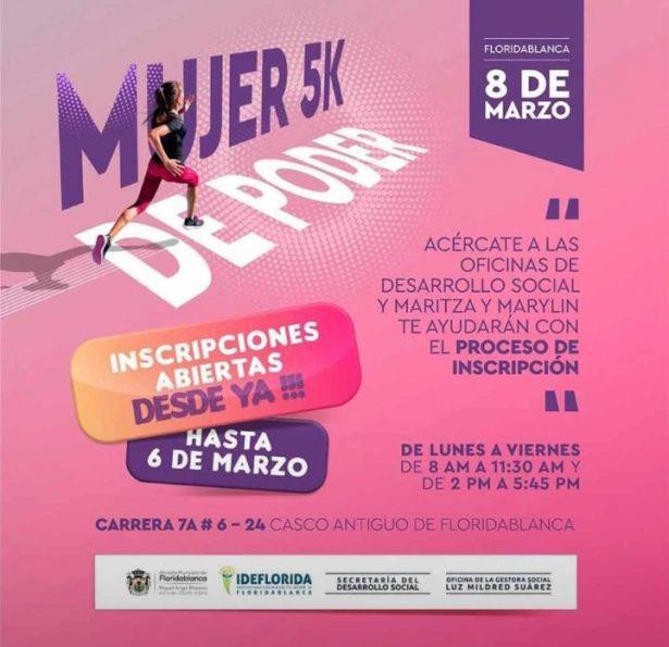 Este 8 de marzo, Floridablanca realiza la carrera atlética 'Mujer 5K de poder'