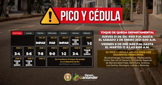 Pico y cédula con toque de queda departamental aplicará para fin de año e inicio de 2021