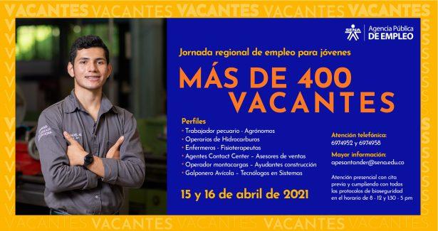 Más de 400 vacantes estarán disponibles en jornada de empleo para jóvenes realizada por el SENA